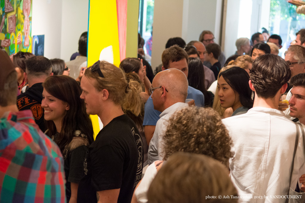 Monomania II art opening night at Trench Contemporary Art Gallery, Vancouver BC, July 2013. Photo by Ash Tanasiychuk