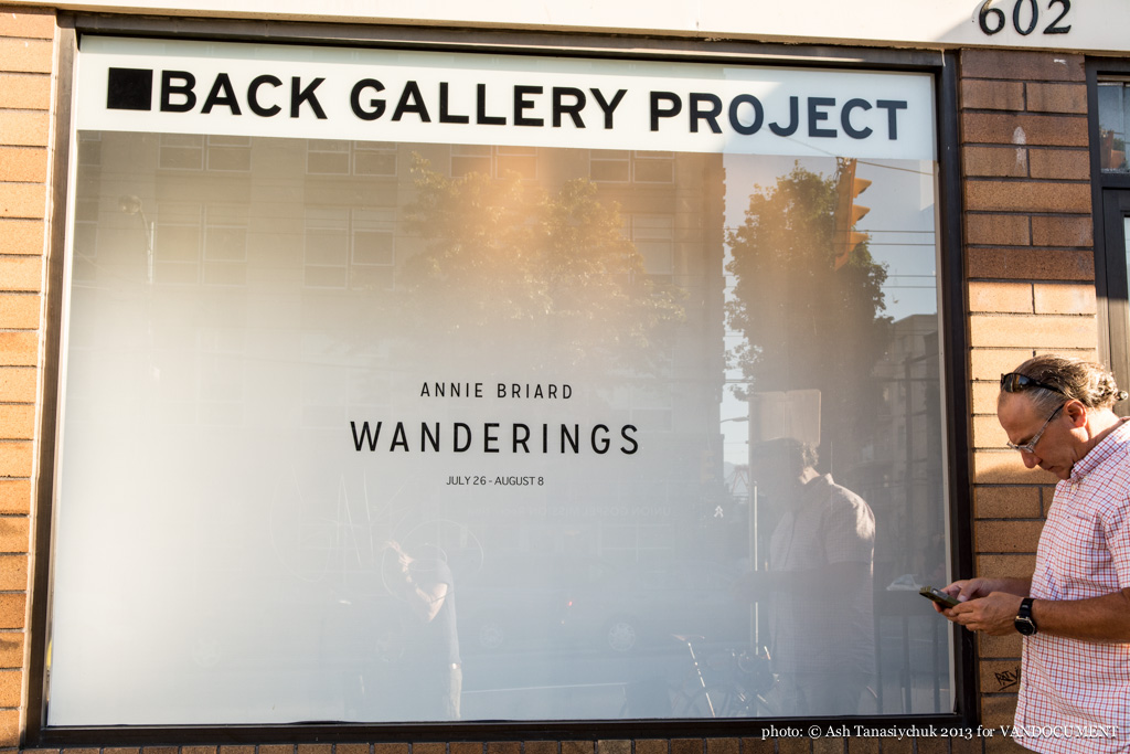 Annie Briard's Wanderings, curated by Black and Yellow, at Back Gallery Project, Vancouver BC, 2013, photo by Ash Tanasiychuk for VANDOCUMENT