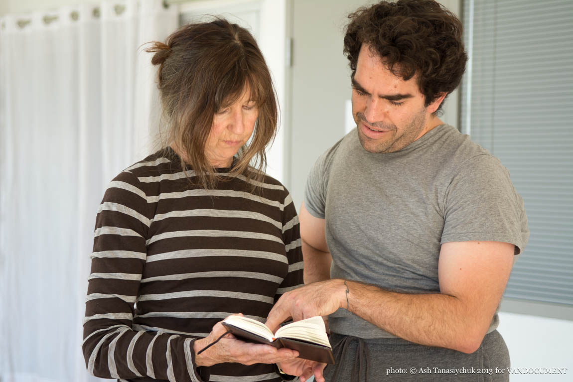 Karen Jamieson and Nathaniel Justiniano rehearsal for Brief Encounters in Vancouver BC 2013. Photo by Ash Tanasiychuk for VANDOCUMENT