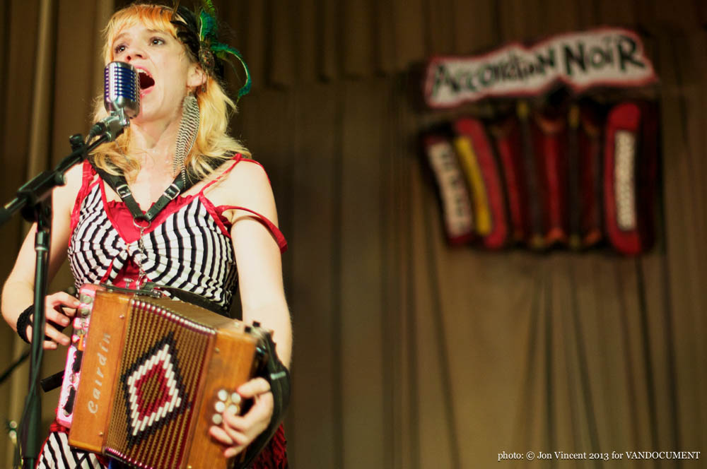 Renee De La Prade @ Accordion Noir Fest, Russian Hall, Vancouver BC, 2013. Photo by Jon Vincent for VANDOCUMENT