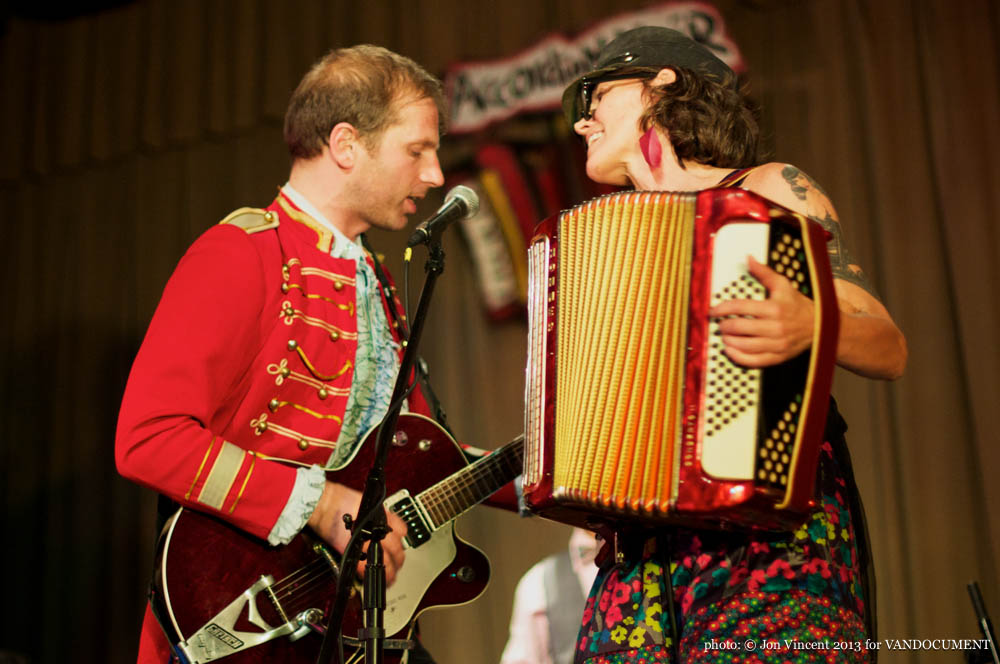 Katheryn Petersen and Noah Walker @ Accordion Noir Fest, Russian Hall, Vancouver BC, 2013. Photo by Jon Vincent for VANDOCUMENT