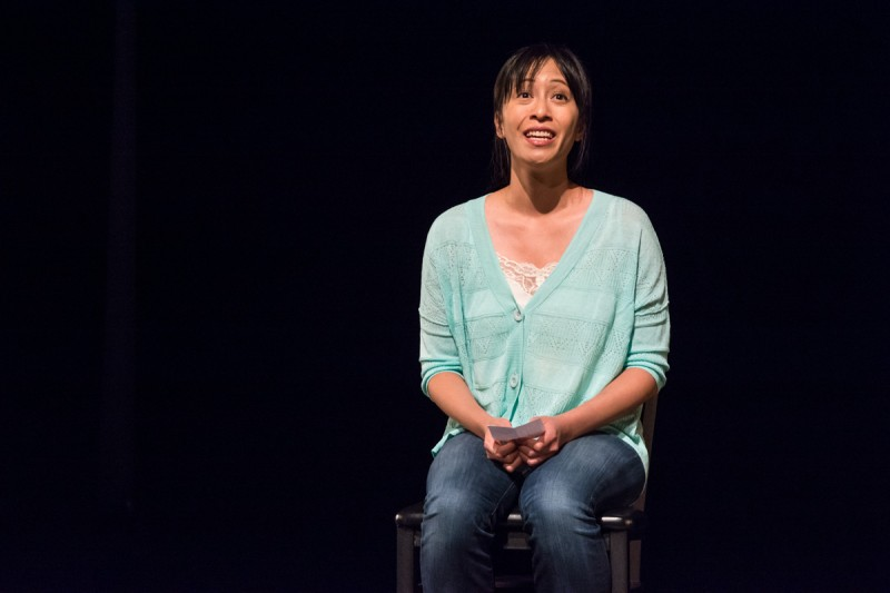 Yvette Lu performing at SFU Woodwards as part of LAUNCH Festival, Vancouver BC, 2013. Photo by Ash Tanasiychuk.