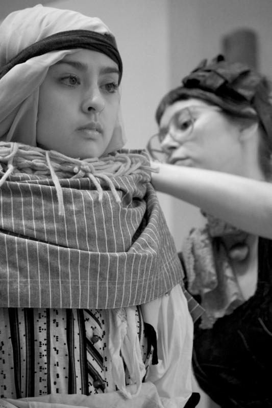 Sophia Wolfe and Lisa Simpson. Mine Agente performance @ Emily Carr University of Art & Design, Vancouver BC, 2014. Photo by Ravi Gill for VANDOCUMENT