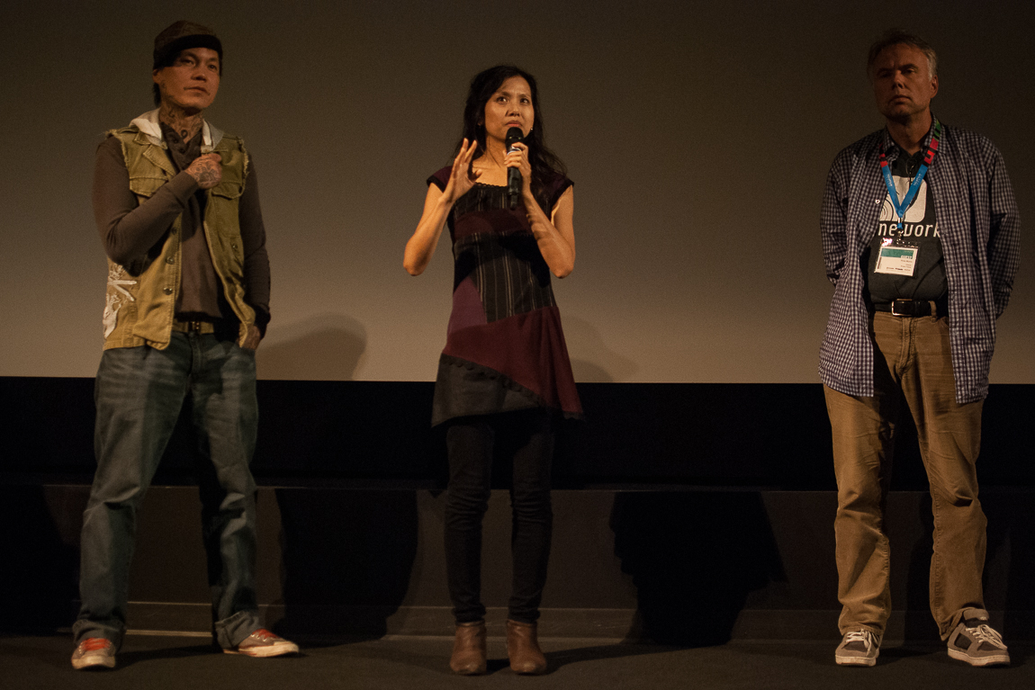Featured artist Ken Lum, Everything Will Be director Julia Kwan and Broken Palace Director Ross Munro. Vancouver BC 2014. Photo by Andi Icaza-Largaespada for VANDOCUMENT