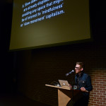 Uselessness & Antagonism: Suggestions for a New Engagement, a lecture by Justin Langlois @ SFU Woodward's, Vancouver, BC. Photo by Alisha Weng for Vandocument.