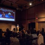 Dylan Robinson talk at SFU Woodward's, Vancouver BC, 2014. Photo by Ash Tanasiychuk for VANDOCUMENT