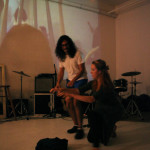 Cometary, performed by Rianne Švelnus, Sarah Gallos and Hailey McCloskey. CONNECTIONS art party at the Remington Gallery, Vancouver BC 2014. Photo by Kendra Archer for VANDOCUMENT