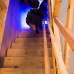 Descending. Thru The Trapdoor opening night, 1965 Main St, Vancouver BC, 2014. Photo by Ash Tanasiychuk for VANDOCUMENT