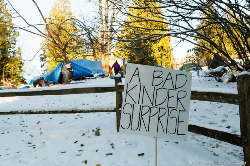 Burnaby Mountain Pipeline Protest Gathering. 29 November 2014. Photo by Sheng Ho. Vandocument