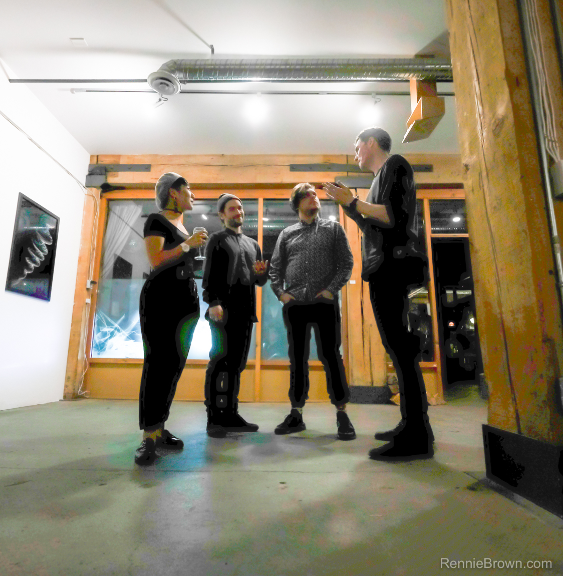 Nancy, Eli, Laine, Jonny in Artifact Opening at Creative Coworkers, Vancouver BC 2017. Photo by Rennie Brown for VANDOCUMENT-17