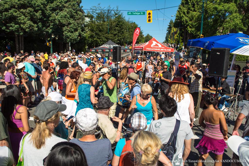 Dancing at Khatsahlano art & music fest, Kitsilano, Vancouver BC, 2013. Photo by Ash Tanasiychuk