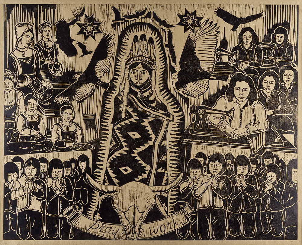 Tania Willard's Be a Good Girl, 2007, woodcut on paper. Photo: Michael R. Barrick