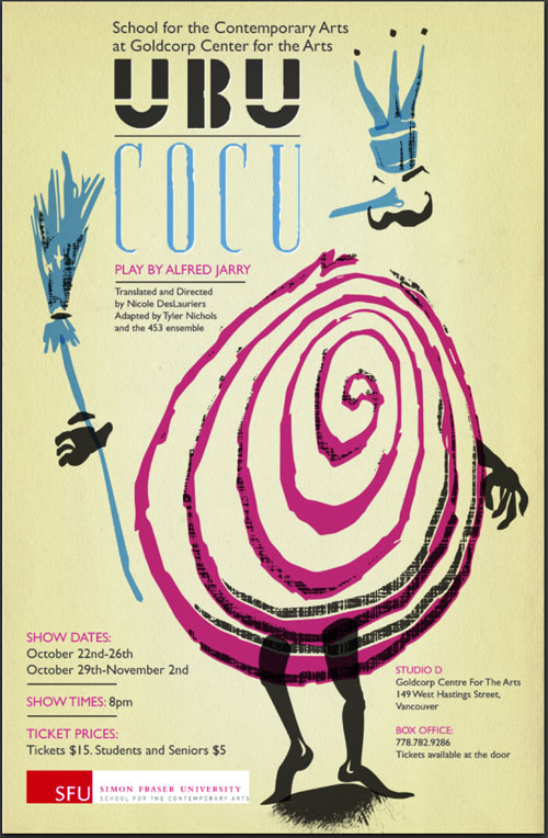 Poster for SFU's School for the Contemporary Arts' production of Alfred Jarry's Ubu Cocu, 2013