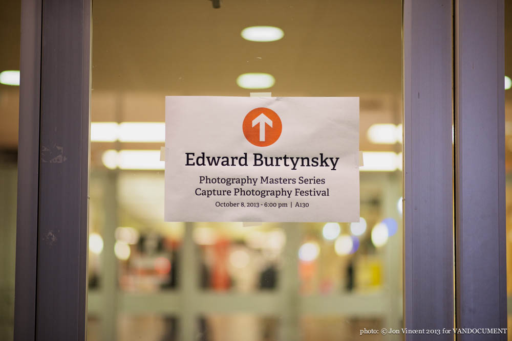 Edward Burtynsky talk @ Langara College, Vancouver BC, 2013. Photo by Jon Vincent for VANDOCUMENT