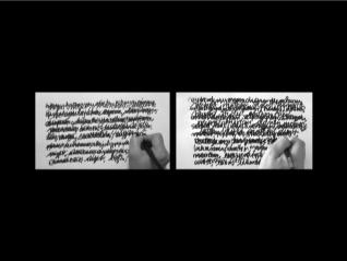 Gabriela Aceves Sepúlveda, 'Escribiendome (ó el rectángulo negro en homanaje a Malevich)' (a performance in two-channel video)