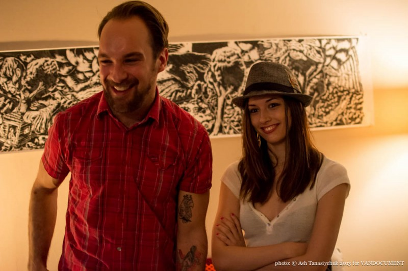 Artist Sean Karemaker and friend at the VANDOCUMENT Six Month House Concert, Vancouver BC, 2013. Photo by Ash Tanasiychuk