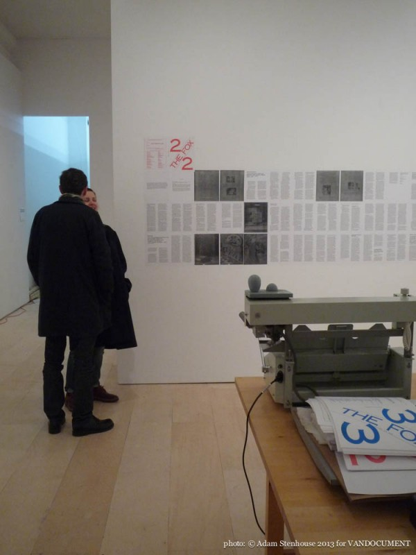 Re: The Fox at UNIT/PITT gallery, Vancouver BC 2013. Photo by Adam Stenhouse for VANDOCUMENT