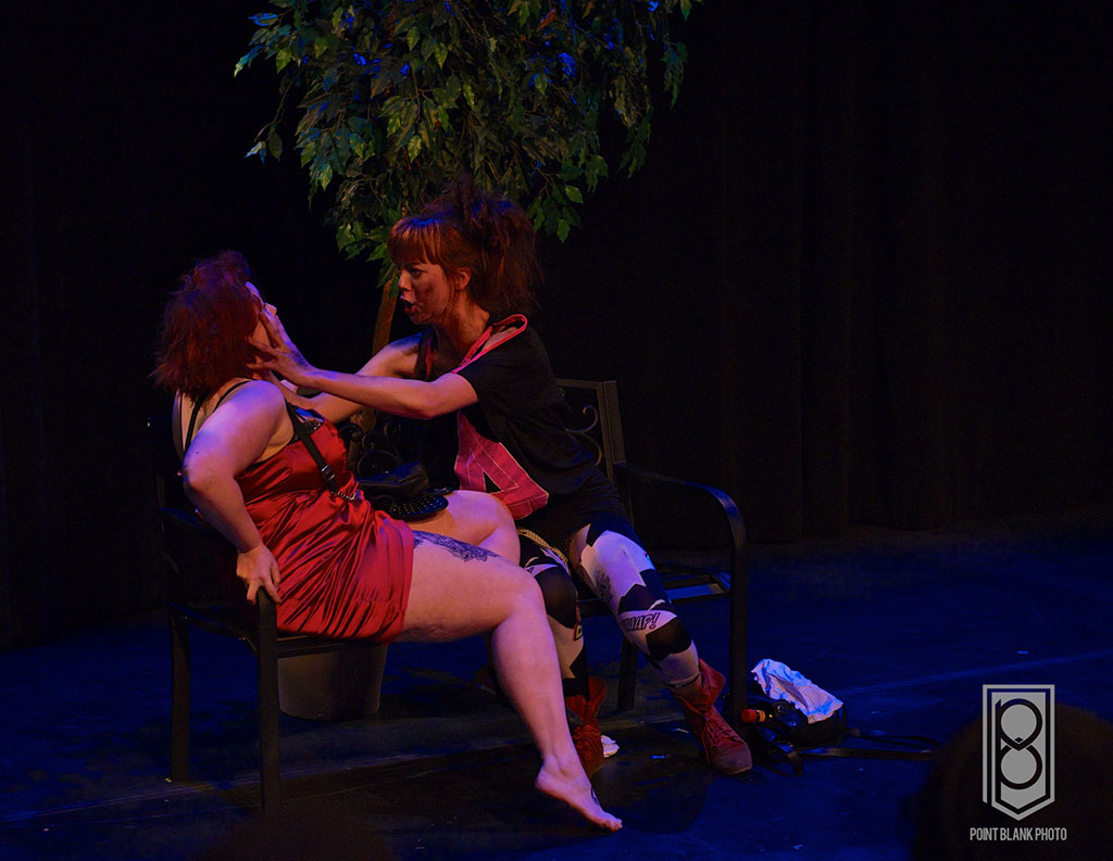 Katey Hoffman and Cheyenne Mabberley in The After After Party (Waiting for Gordo) at the SHIFT 1 Act Festival at The Cultch, Vancouver BC, 2014. Photo by Travers Jeffers, Point Blank Photography