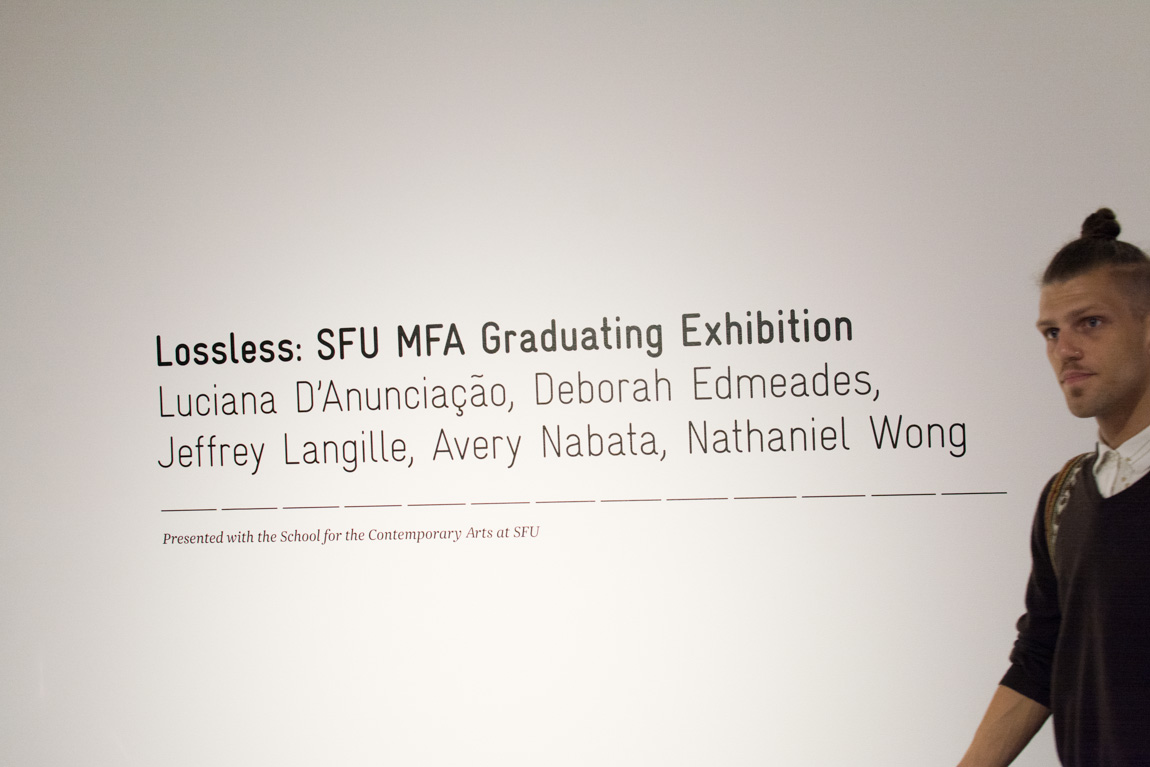 Lossless, SFU MFA Graduating Exhibition at Audain Gallery, 2014. Photo by Ash Tanasiychuk for VANDOCUMENT