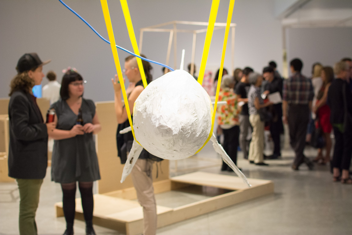 Lossless, SFU MFA Graduating Opening Exhibition at Audain Gallery, 2014. In foreground: Nathaniel Wong 'Thus Spoke Death and Transfiguration.' Photo by Ash Tanasiychuk for VANDOCUMENT