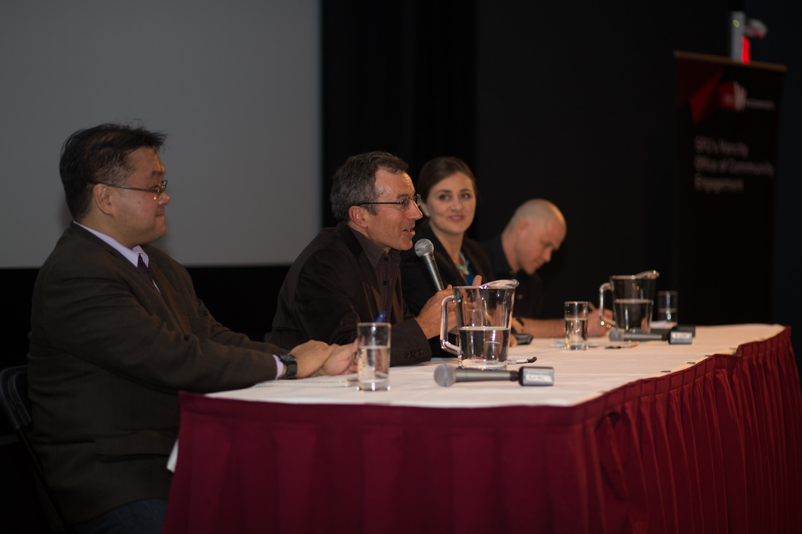 """Vancouver in the 21st Century"" panelists (L-R) Andy Yan, Peter Ladner, Vanessa Timmer, Matt Hern @ SFU W, Vancouver BC, 2014. Photo by Harley Spade for VANDOCUMENT"