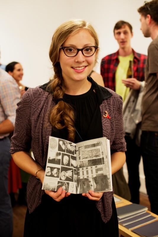 Erika Wilk with her zine Ends.