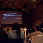 Dylan Robinson talk at SFU Woodward's, Vancouver BC, 2014. Photo by Ash Tanasiychuk for VANDOCUMENT