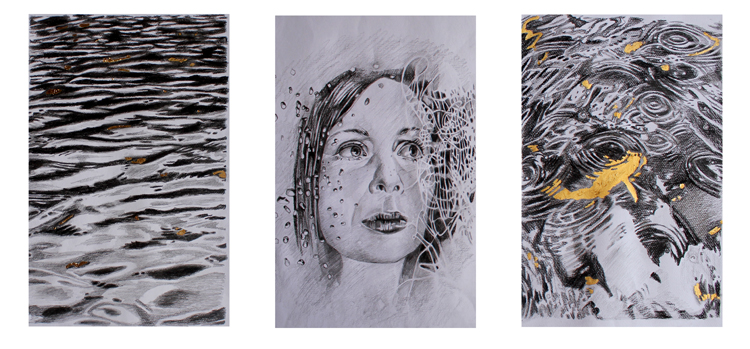 Graphite and Gold Studies by Amelia Alcock-White