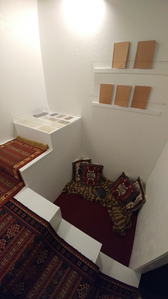 "Aghigh Gougani ""Chador"" (interior) at Lazy Susan, Audain Gallery. Photo by Ash Tanasiychuk."