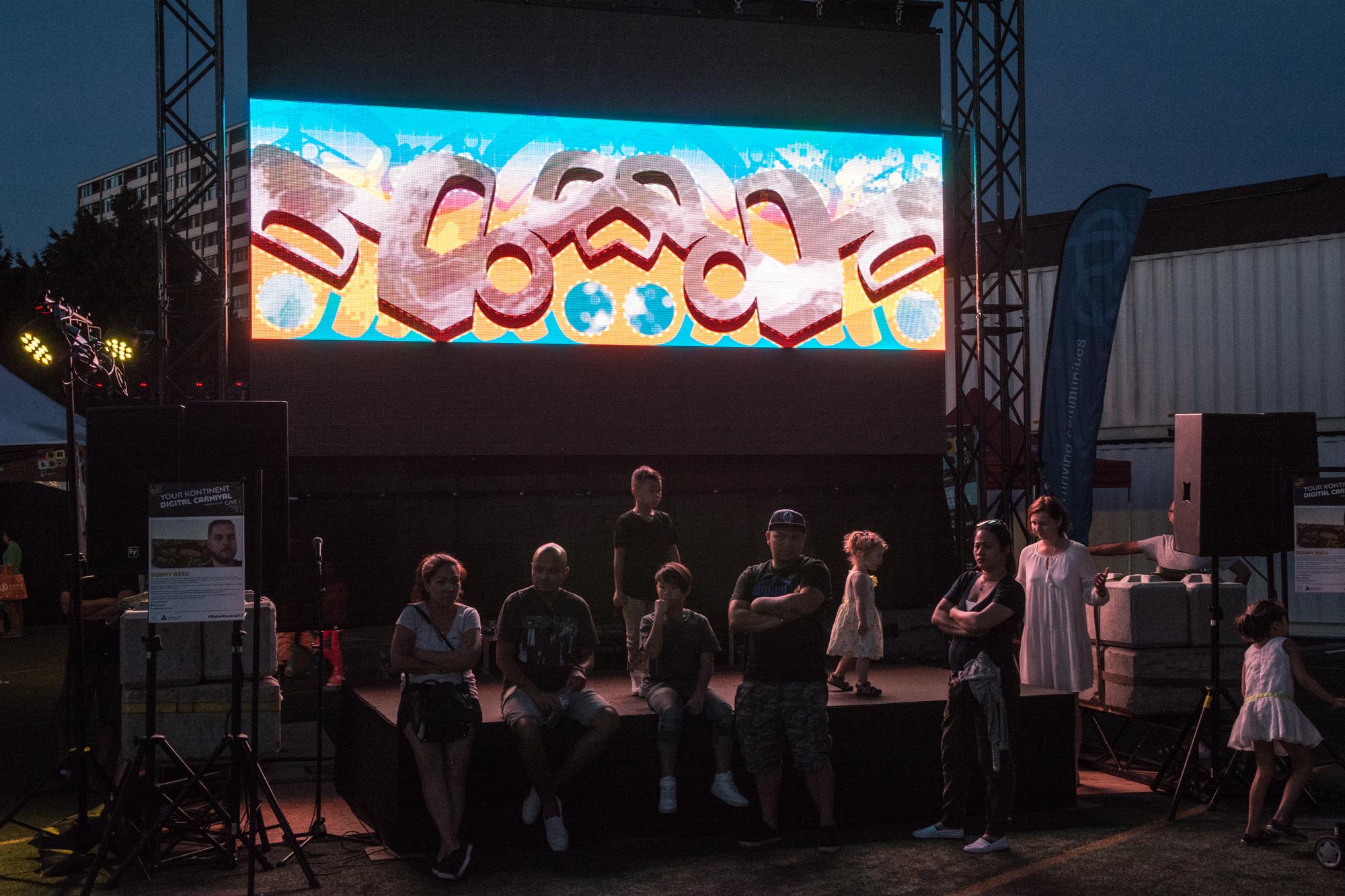 Sonny Assu, 1UP, video installation. Ash Tanasiychuk photo.