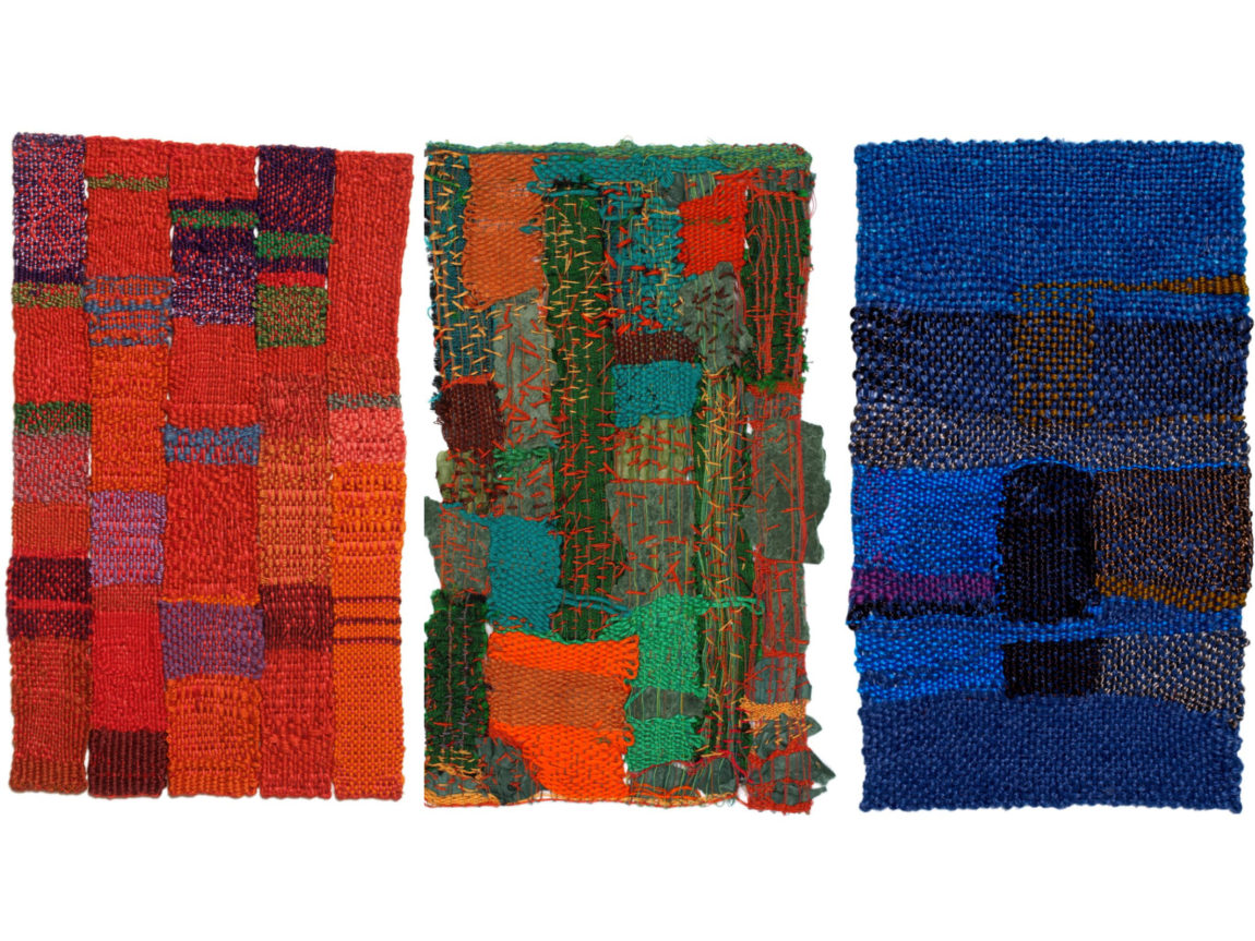 Weavings by Sheila Hicks. Exhibited at the Bard Graduate Center in 2006 and documented in the catalogue, Sheila Hicks: Weaving as a Metaphor
