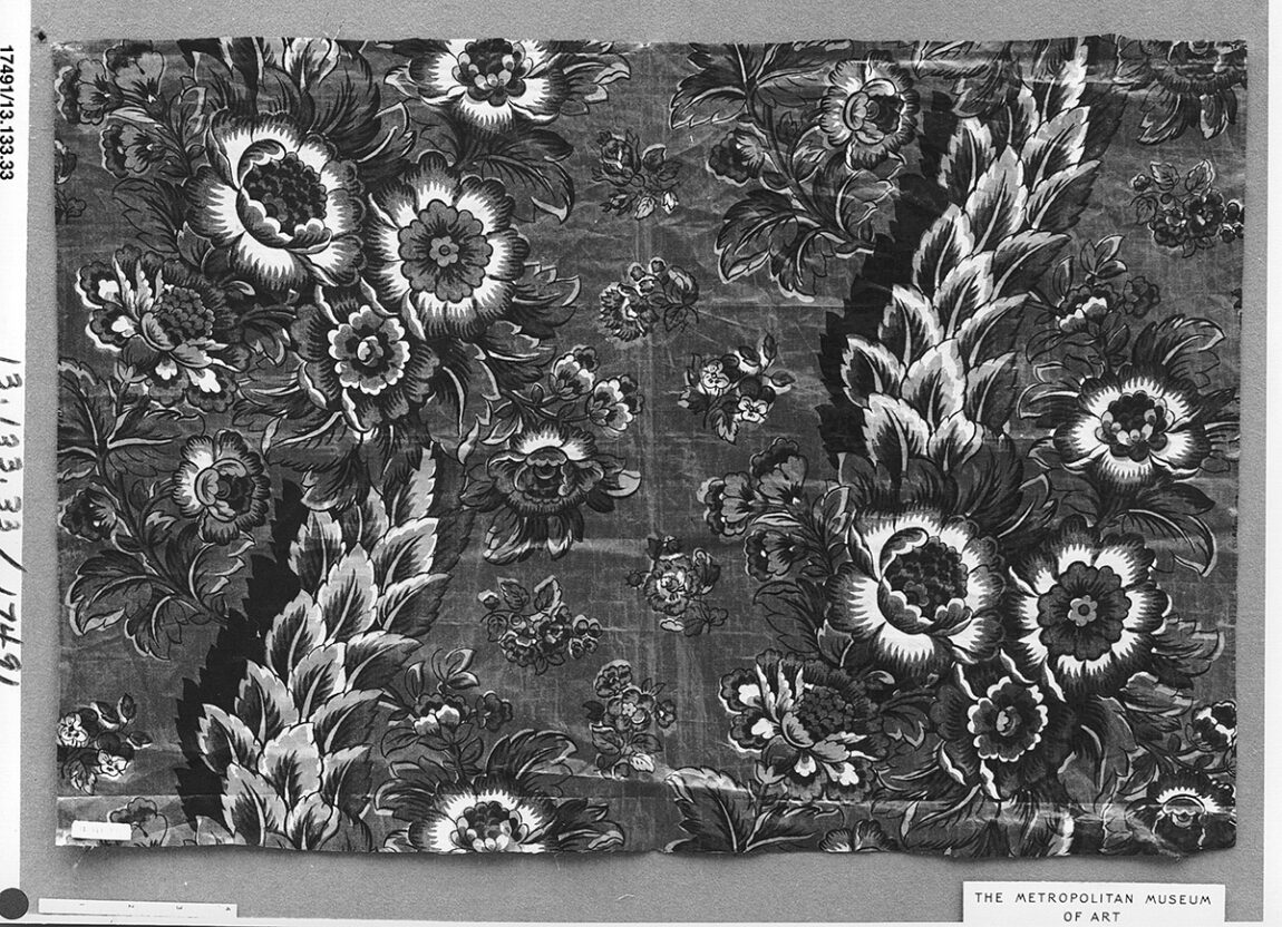 Cotton chintz made by Bannister Hall Printworks, England; ca. 1812